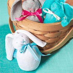 nosew sock, easter crafts, socks, sock bunny, easi easter