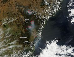 Sat imagery of Bushfires in New South Wales, Australia Posted on October 29, 2013 by Anthony Watts  NASA's Terra satellite detected dozens of bushfires raging in the Australian state of New South Wales, outside of Sydney.  Emergency managers in New South Wales declared a state of emergency. More than 116,167 hectares (~287,000 acres) have already burned.  http://www.nasa.gov/sites/default/files/australiasydney_copy.jpg