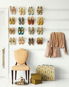 crown molding to hang shoes - love this idea!