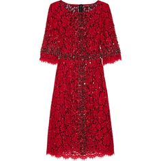 Dolce & Gabbana Crystal-embellished lace dress found on Polyvore