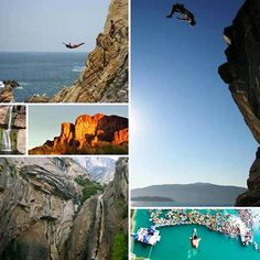 Cliff Diving - a new dimension to the sport of diving is defined as the acrobatic perfection of diving into water from a high cliff.