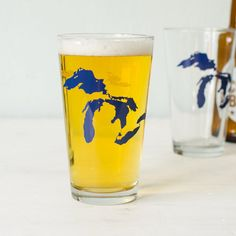 Great Lakes pint glass blue Huron Ontario Michigan Erie by vital, $12.00