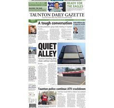 The front page of the Taunton Daily Gazette for Tuesday, Aug. 12, 2014.