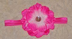 Custom Pink flower on elastic headband!