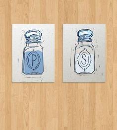 Salt & Pepper Letterpress Kitchen Print Set