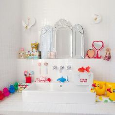Accessoires salle de bain pour enfants, canards ou poisson rouge ...
