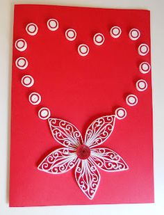 Quilled heart flower