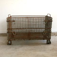 Industrial Metal Crate Metal Basket Factory Crate by RhapsodyAttic, $295.00