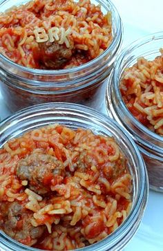 Homemade SpaghettiOs with Mini Meatballs - Pack 'em into individual jars (wide mouth, pint canning jars) and store in fridge for a couple days. Instant kid meals, or husband meals (if your husband is a gamer, who eats cold SpaghettiOs in front of his computer in the middle of the night!)