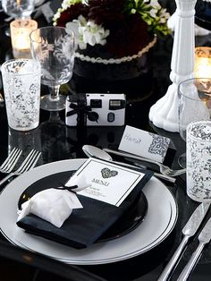 table settings, idea, place card, black white, place set, white lace, lace trim, tabl set, menu card