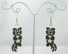 Beaded Skunk Earrings by LazyRose on Etsy, $9.00