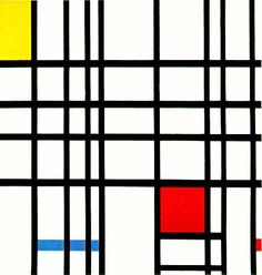 Composition with Yellow, Blue, and Red, (1937–42) by Piet Mondrian (Dutch, 1872 - 1944). Exhibited at Tate Gallery, London.