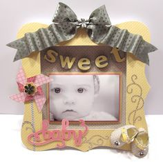 """Creating with Christine: Baby frame using CTMH """"Base & Bling Necklace"""" kit, CTMH Chantilly paper & CTMH Babycakes paper"""