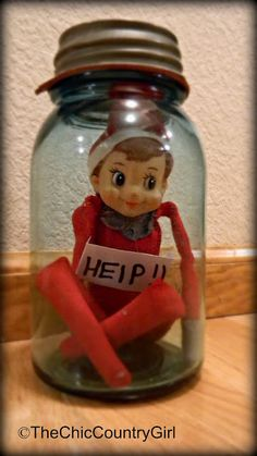 Elf A Day: Day 2 (aka Elf On The Shelf) - Funny :) Leon (or family Elf) got trapped in the cookie jar last year....and ate a lot of the cookies while waiting to get out. This is cute too :) #elf #christmas
