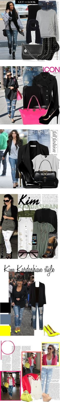 """Look to Love: Kim Kardashian's Flattering Ripped Jeans"" by polyvore-editorial ❤ liked on Polyvore"