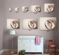 A size comparison created with the nursery template from the photographer's wall display guides: www.arianafalerni.com/design also easy to create with Shoot & Sell!