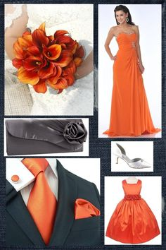 Love the orange calla lilies :) And I kinda like this color combo.. dark grey and orange. Something I never thought I'd go for. But I'd rather have dark grey bridesmaids dresses, not orange.