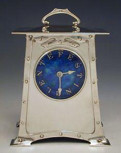 Art Nouveau Silver Clock by Archibald Knox