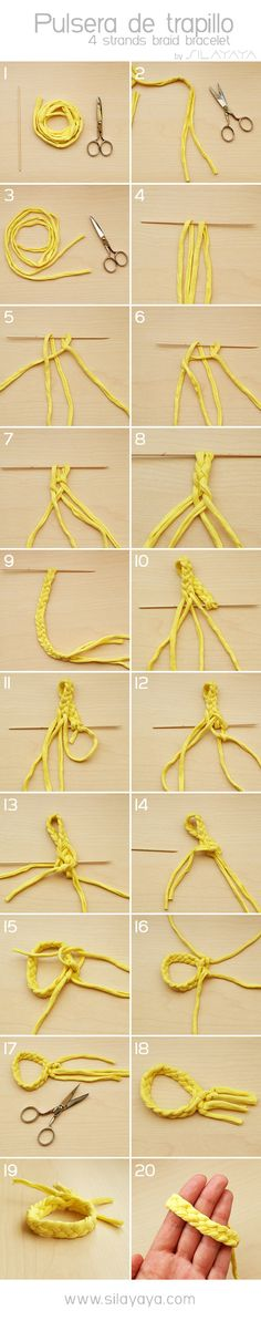 Tutorial pulsera trapillo (amarillo fluor) Tutorial yellow bracelet. Four strands braid bracelet. DIY