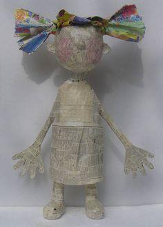 Papier Mache Sculpture | ... Thérèse Brandeau - Sculpture, Papier, poupée fille papier mâché