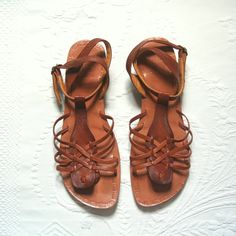 brown leather sandals / Peruvian  Peru / tan  wedge by Capricorne, $32.00