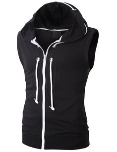 Amazon.com: Doublju Mens Sleeveless Hoodie with Zip up in 4 Colors: Clothing