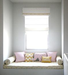 Erika Brechtel: So cute! Built-in window seat with cushion and bolster pillows upholstered in Celerie ...walls in Benjamin Moore Silver Bells