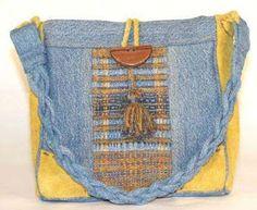 denim and yellow fabric bag