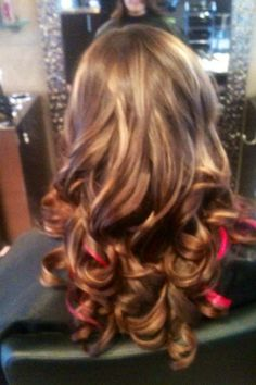 Honey & Raspberry Pink Highlights on Brown Hair.. LOVE!!!