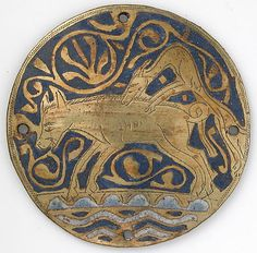 Medallion with Hunting Dog Attacking Boar Crossing Water  ca. 1240–60  Made in, Limoges, France