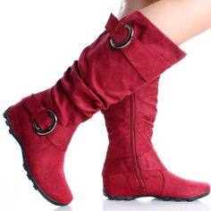 Red Flat Knee High Boots Slouch Tall Buckle Ladies Womens Faux Suede