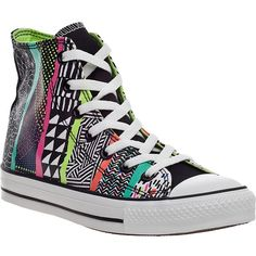 CONVERSE WOMEN'S Chuck Taylor Hi-Top Sneaker White Multi Canvas ($60) ❤ liked on Polyvore