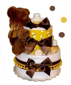 All Diaper Cakes - Organic Bumble Bee Themed Diaper Cake, $99.95 (http://alldiapercakes.com/bumble-bee-themed-diaper-cake/)
