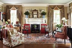 Elegant living room.  Beautiful rug makes the room.
