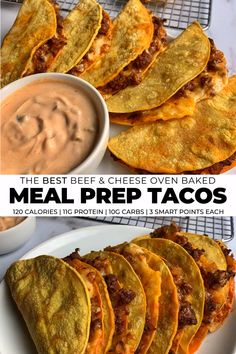 A simple recipe for crispy, crunchy beef and cheese tacos that are great for feeding a crowd or meal prep. Recipe includes an awesome 3-ingredient Greek yogurt dip for all your Tex-Mex favorites. #tacos #bakedtacos #beeftacos #mealpreprecipe #texmexrecipes