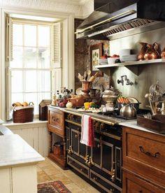 La cornue with old wood cabinets