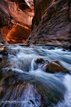 Virgin River Narrows, Zion National Park, near Springdale, Utah