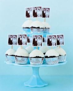 DIY for photo cupcake toppers. Love this vintage wedding photo for an anniversary party.