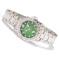 612-234 - Stührling Original Women's Regatta Madam Diamond Accent Quartz Stainless Steel Bracelet Watch
