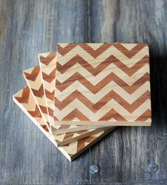 Solid Wood Chevron Coasters - Set of 4 | Home Decor | Richwood Creations