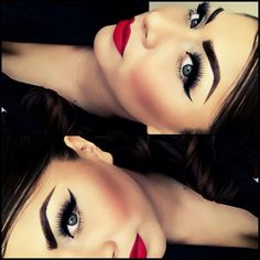 extreme winged eyes and big bold red lips