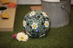 Gazing Ball made from flat marbles and bowling ball.
