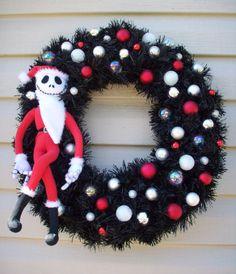 Nightmare Before Christmas SANTA JACK SKELLINGTON Holiday Wreath by SuperVixenBadGirl on Etsy