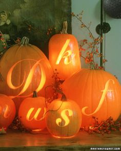 letter carved pumpkins from Martha Stewart