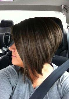Inverted bob haircut and highlights
