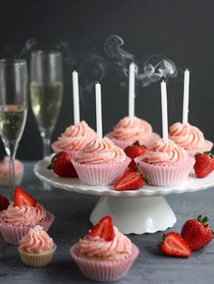 Strawberries and Champagne Cupcakes | completelydelicious.com