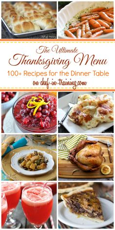 The ULTIMATE Thanksgiving Menu at chef-in-training.com ...100+ recipes for the dinner table!