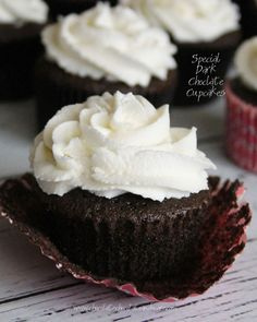Special Dark Chocolate Cupcakes-a moist delicate crumb with a rich dark chocolate flavor!