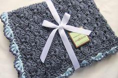 Baby Boy Blankets - Crochet Baby Boy Blankets - Denim Blue Panel Shells Stroller/Travel/Car seat blanket
