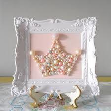 princess room-diy pearl tiara in frame  #wall-art #pearl #crown #princess